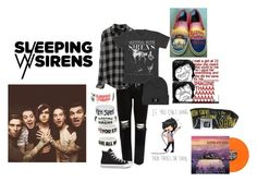 """""""Sleeping With Sirens"""" by bandsvansandsodacans ❤ liked on Polyvore featuring River Island, Rails and Converse"""