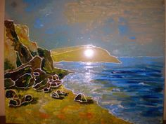 Hand painted Picture Sea in the west of the Crimea by BeeGlass