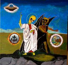 TEMPTATION OF ALIEN JESUS acrylic on canvas Gregory McLaughlin