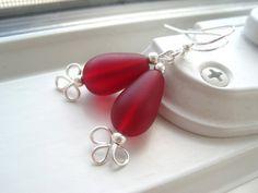 Red Sea Glass Earrings  Sea Glass Jewelry  Wire by Sparkleandswirl, $16.00