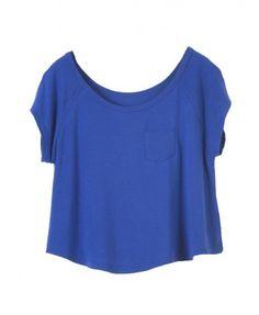 loose Blue Short Sleeves T-shirt