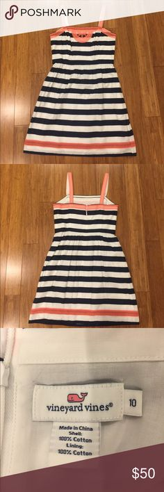 Vineyard Vines Striped Sundress Nautical-themed, navy striped sun dress with modern embroidered detailing. Worn only once, excellent condition! Vineyard Vines Dresses Midi