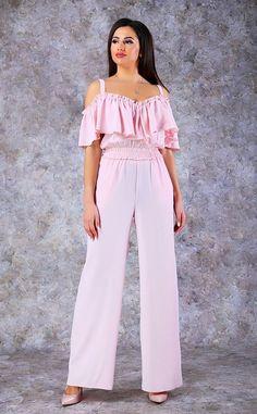 """Комбинезон 5151 цветов розовый, желтый, голубой от """"Poliit"""" оптом: купить в Украине недорого - Chia Jumpsuit, Street Style, Fashion Outfits, Pants, Dresses, Overalls, Trouser Pants, Vestidos, Fashion Suits"""