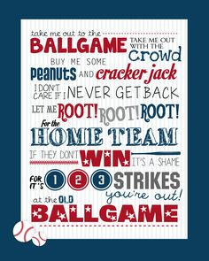 Take Me Out to the Ballgame Printable -- FREE! Grab this adorable baseball themed printable. Perfect for a birthday party or summer decoration! Baseball Crafts, Baseball Quotes, Baseball Stuff, Baseball Wreaths, Baseball Wall, Baseball Shirts, Baseball Field, Dodgers, Baseball Bathroom