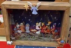 Nacimiento con botones en caja o marco de fotos Christmas Nativity Scene, Christmas Card Crafts, Nativity Creche, Nativity Crafts, Christmas Sewing, Diy Christmas Ornaments, Christmas Art, Christmas Decorations, Nativity Sets