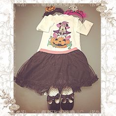 T-shirt Halloween Minnie Prenatal, gonna tutù e ballerine vernice H&M,