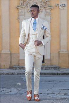 Italian bespoke pure cotton satin beige suit with 1 buttons. d2de29d67c3
