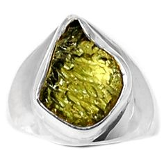 Genuine Czech Moldavite 925 Sterling Silver Ring Jewelry s.7.5 MLDR1590 - JJDesignerJewelry