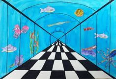 one-point perspective: under the sea. the lines should get closer together as you get further away.
