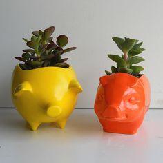 Pig Planter Ceramic 60s Mini Desk Pig Planter by fruitflypie