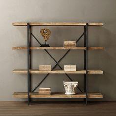 Bibliothèque en bois et fer.