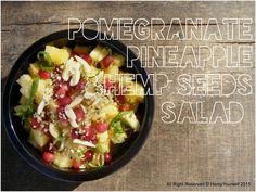 Recipe to try delicious Pineapple & Pomegranate Salad  with hulled #HempSeeds  *all recipes will be available soon on our new website*  #hempFood #HempRecipes #EatHemp #BeHealthy #hempSeeds #HempHearts #hemp #fruitSalad