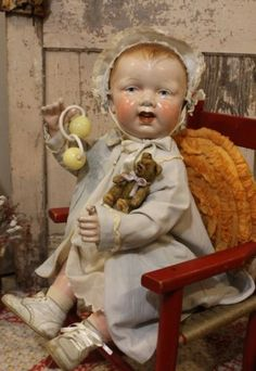 """Big 24"""" Early 1900's Old Antique Vintage Original Composition jointed Baby Doll"""