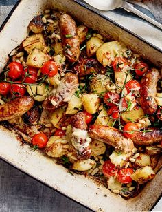 Don't miss our all-in one sausage and crispy potato bake recipe. Everything is roasted together in one tin for ease and topped with melted cheddar, chives and toasted pine nuts for a winning family dinner # All-in one sausage and crispy potato bake recipe Tray Bake Recipes, Pork Recipes, Cooking Recipes, Healthy Recipes, Baked Veggie Recipes, Sausage Dinner Recipes, Dinner Party Recipes Main, Sausage Meals, Veggie Bake