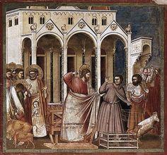 Giotto, Cacciata dei mercanti dal tempio, 1303-1305 Ca., affresco, Cappella degli Scrovegni, Padova.