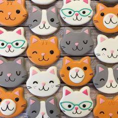 Super Cookies, Fancy Cookies, Royal Icing Cookies, Kitten Party, Cat Party, Cat Cookies, Cupcake Cookies, Cat Birthday, Birthday Cookies
