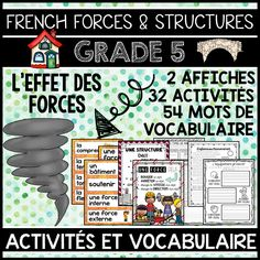 THIS UNIT IS PART OF A GROWING BUNDLE, WHICH WILL EVENTUALLY INCLUDE ALL FOUR GRADE 5 SCIENCE UNITS IN FRENCH BY THE END OF APRIL 2017 OR SOONER. SAVE 40% BY PURCHASING THE GROWING BUNDLE.  This file includes a Grade 5 French Science Unit for Forces Acting on Structures and Mechanisms (L'EFFET DES FORCES SUR LES STRUCTURES). The unit includes 54 word wall labels, 32 activities and 2 posters.