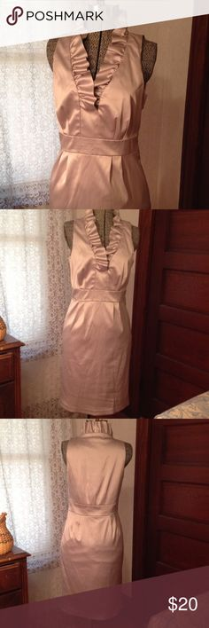 High Necked Ruffle Dress Chic, champagne colored cocktail dress, lovingly worn once Just Taylor Dresses Midi