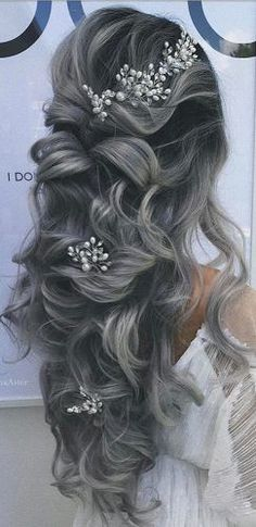 favorite wedding hairstyles for long hair half up half down with accessories aster