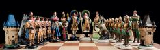 Handmade Pewter Chess Set French  Hand painted