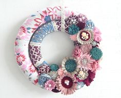 Double Wrapped Fabric Wreath with handmade by WreathsByEmmaRuth