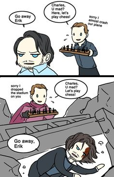 This is not a ship pin just funny and poor Erik Marvel Fan Art, Marvel Funny, Marvel Memes, Marvel Avengers, Marvel Comics, Charles Xavier, Otp, X Men Funny, Cherik