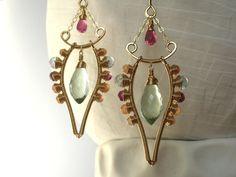 Handmade Wire Wrapped Earrings Luxury Gemstone Jewelry Art