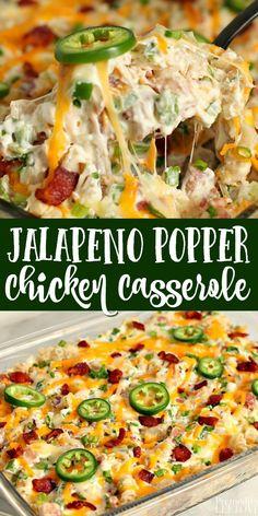 Jalapeno Popper Casserole Recipe, Jalapeno Popper Chicken, Jalapeno Poppers Baked, Chicken Poppers, Easy Casserole Recipes, Casserole Dishes, Pasta Bake Recipes, Baked Chicken Pasta Recipes, Chicken Pasta Casserole