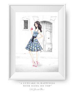 Fashion illustration print Fashion art girl por ThePaintedShoeArt