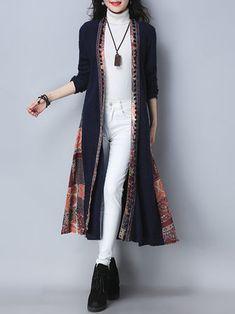 Only US$40.88 , shop Folk Style Vintage Print Patchwork Long Sleeve Women Long Coats at Banggood.com. Buy fashion Coats online.
