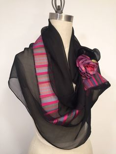 Silk Chiffon And Silk Organza Infinity Scarf, Black Silk Scarf, Burgundy Navy And Radiant Orchid Strips, Loop Scarf, Circle Scarf
