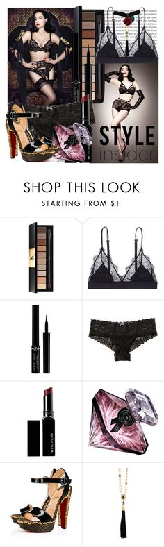"""Lingerie"" by paulid ❤ liked on Polyvore featuring beauty, Oris, Dita Von Teese, Yves Saint Laurent, LoveStories, Giorgio Armani, Hollister Co., Witchery, Lancôme and Christian Louboutin"