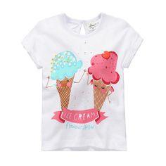 Jumping beans cotton kids baby infants girl short sleeve t-shirt ice cream tee