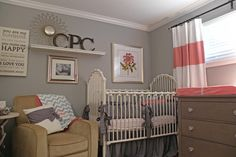 Gray goes lighter with coral and white  Apt. Therapy