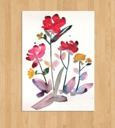 Island Floral Watercolor - No. 2 | Art Prints | Kiana Mosley |