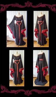 Medieval Fantasy Gown Branwen, black and red, Size S-L. €100.00, via Etsy. Sorceress Costume, Elven Costume, King Costume, Vestido Medieval, Medieval Dress, Medieval Fantasy, Long Sleeve Wedding, Wedding Dress Sleeves, Fairy Wedding Dress