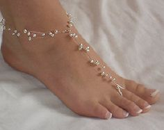 Swarovski Pearl Floating Pearl Beach Wedding Barefoot Sandals