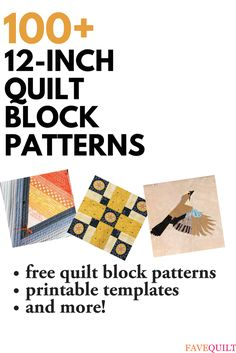 Download hundreds of 100% free quilt block patterns. Our 12 inch quilt block patterns page includes individual block patterns and templates as well as full free, quilting patterns using the popular block size.