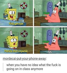 Still need space on my phone so here are more stolen memes (part Spongebob Memes, Cartoon Memes, Spongebob Squarepants, Spongebob Tumblr, Cartoons, Satire, Playstation, You Meme, School Memes