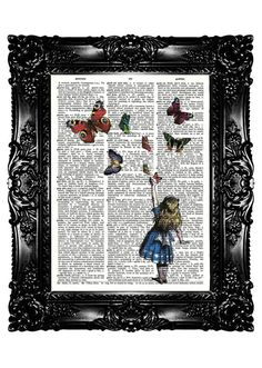 Alice in Wonderland Dictionary Print Upcycled Book Art Prints Vintage Book Print Vintage Book Page Recycled Buy 3 get 4th free. $7.99, via Etsy.