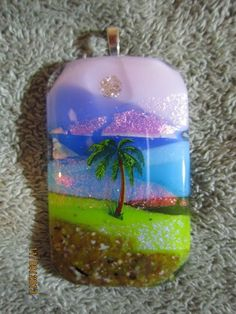 BLUE SKY PALM TREE BEACH DICHROIC GLASS FUN PENDANT   Imaginative_Creations - Jewelry on ArtFire