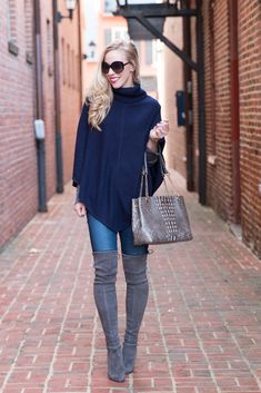 Ann Taylor cashmere turtleneck poncho, Stuart Weitzman 'Highland' Londra suede boots, over the knee gray suede boots, Brahmin Corington tote Falcon melbourne
