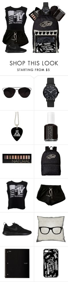 """Casual Emo Girl"" by casualbandgirl ❤ liked on Polyvore featuring Christian Paul, Essie, Forever 21, Vans, Été Swim, NIKE, jcp, Five Star, Fujifilm and black"