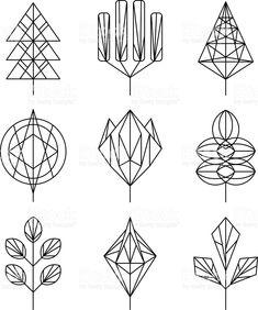 Árvore de gráfico linear estilo hipster conjunto, - arte vetorial de acervo royalty-free
