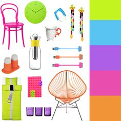 For this weeks CMYLK, we chose a dozen neon bright pieces wed be happy to have at home. Diy Home Decor, Room Decor, Neon Room, Neon Design, Palette, Duvet Sets, Color Pallets, Neon Colors, Pantone