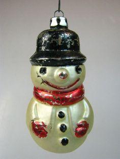 Vintage SNOWMAN Mercury Glass Christmas Ornament West Germany