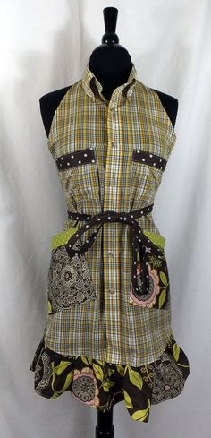 Upcycled Recycled Mens Shirt Apron Yellow Plaid by Trinnyella