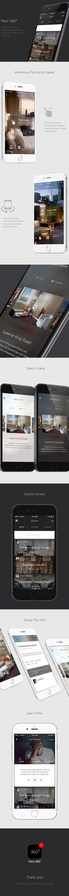 Pano 360º - UX/UI iPhone app design