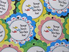 Dr Seuss Favor Tags One Fish Two Fish theme by sweetshoppepaperie