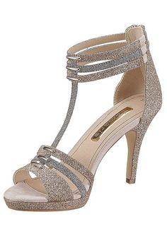 Tamaris High Heel Sandals with platform in metallic gold and silver glitter
